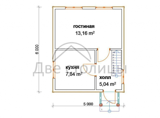 "Дом из бруса 5х6 с мансардой ""Д-26"""