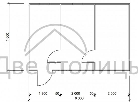 Баня каркасная 4х6 «Б4-6Д»