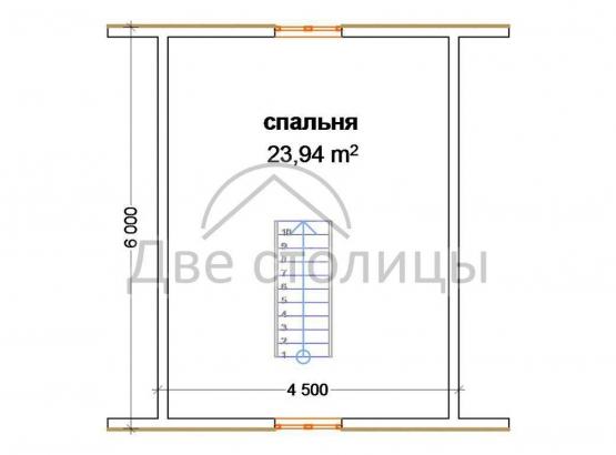 """Дом брусовой 6х8 с террасой """"Д-23"""""""
