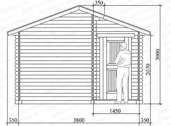 Баня «Комфорт 3.0» 3,8х3,8 м.
