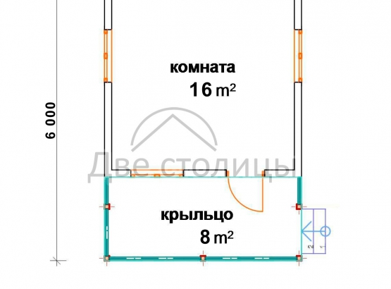 """Садовый каркасный дом """"Клёст"""" 6х4"""