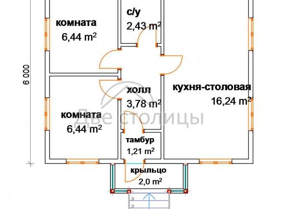 """Садовый каркасный дом """"Гагара"""" 6х7"""