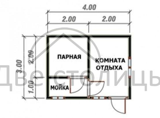 Б-15, баня 3х4