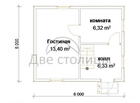 """Брусовый дом 5х6 с мансардой """"Д-2"""""""